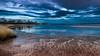 Riding Jet streams (Beppe Rijs) Tags: deutschland germany schleswigholstein schlei wolken wolkendecke landschaft landscape natur nature horizont horizon clouds farbig colored line linie river fjord fluss ufer reet blue blau water wasser sun sonne bridge brücke brown red