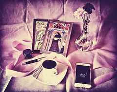 Items of happiness (Doctor Ahmed Badr) Tags: book novel art flower vase pink mobilephone cellularphone coffee cup pen lomo light ribbon gimp vintage minimalism nikond3200