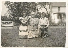 With grandma on the farm (912greens) Tags: houses farmhouses backyards grandmothers children kids glasses folksidontknow 1930s