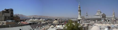 Damaskus, Blick über die Dächer der Altstadt zur Omayadenmoschee mit ihren drei Minaretten