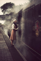 Dressed for the Occasion (Jo ~) Tags: lady retro vintage style 1940s steamtrain sheringham norfolk uk