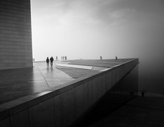 (Svein Skjåk Nordrum) Tags: bw blackandwhite monochrome oslo opera operahouse misty fog people silhouettes light architecture building noir
