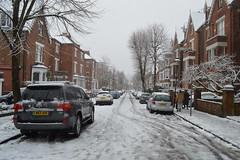 London road in snow
