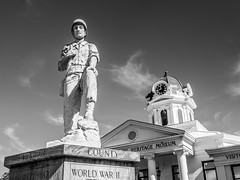 The War Dead of Swain County (Lee Edwin Coursey) Tags: worldwar autumn memorial 2017 hikeweek fontana travel blackandwhite northcarolina monochrome bw brysoncity soldier fall war statue
