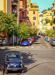 Roman Streets (Lowe_Matthew) Tags: italy rome street fiat 500 summer sun road canon world