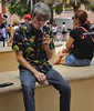 Smoking man (LarryJay99 ) Tags: men male man guy guys dude dudes jeans bluejeans hairy hairyarms face facial hair smoking unsuspecting handsome handson hairyman urban strangers streets westpalmbeach publicspace outdoors bench benchwormers happybenchmonday