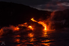 Sea Entry Lava -3532 (NWPaddler) Tags: 2017 bigisland dawn fall hi hawaii nightglow nikon pacificocean volcanohi volcanonationalpark boat boating lava seaentry national park volcanoes hawaiivolcanoesnationalpark nationalpark kalapanaculturaltours