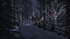 The season is upon us (alexandriabrangwin) Tags: alexandriabrangwin secondlife 3d cgi computer graphics virtual world photography winter american scene laneway snowing snowy beautiful evening dim light forest trees lights fairy coloures lit illuminated snow cabin woods christmas december white