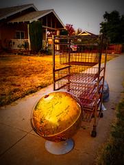 ON A SUNDAY MORNING SIDEWALK (akahawkeyefan) Tags: globe kingsburg trash junk sidewalk davemeyer