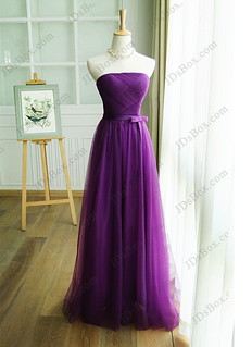 PD16034 Strapless purple color long tulle prom evening bridesmaid dress