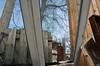 Looking through the broken window (mcfcrandall) Tags: torontophotowalks topw toronto window broken hole frame junk scrapyard lumber scrap