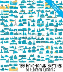 51 European Capitals, 199 Historical colored Landmarks Bundle (Hebstreits) Tags: