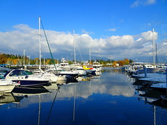 Welcome to November! (peggyhr) Tags: peggyhr harbour marina yachts clouds reflections blue autumn colourful dsc00211a coalharbour vancouver bc canada super~sixbronze☆stage1☆ lespacedevie~ interestingaeroplanesandboats ♪•lamiasonata thegalaxy alittlebitofsoaplevel1 thegalaxystars