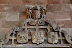 Eccleshall, Staffordshire, Holy Trinity Church, monument to Bp. Overton †1609, detail (groenling) Tags: eccleshall staffordshire staffs england britain greatbritain uk gb holytrinitychurch monument stone carving stonecarving overton bishop bp coatofarms