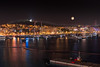 Full moon in Palma's harbour at night (Tom Soyyo) Tags: palmademallorca night harbour city yachts light moon castelldebellver castle view landscape colours hafen nacht travel water summer