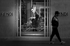 ...look here (christikren) Tags: look sw schwarzweiss fashion sunglasses street streetphotography blackwhite christikren city decoration shop monochrome noiretblanc people tourist vienna bicycle man candid velo urban