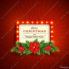 Retro Christmas holiday background. (everythingisfivedollar) Tags: merry christmas retro frame electric bulb lamp signboard red holiday flower xmas new year background poinsettia vector design abstract floral fir tree border winter leaf art decoration illustration celebration branch greeting blooming wreath symbol happy season realistic 3d day celebrate sign light vintage billboard glowing glow board wall broadway old