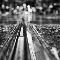 Burke street in the rain (D.H.S Photography) Tags: ifttt 500px city street reflection travel rain cityscape lights monochrome bnw wet balls tram