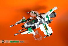 VV - MALACHITE PRINCE (Loysnuva) Tags: vic viper lego vv moc system malachite prince white green pewpew space ship fighter original loysnuva bionifigs