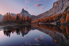Soul Mirror (Leonardo Papèra Photography) Tags: lago federa lake dolomiti dolomites mountains reflections sunrise italy dawn twilight autumn fall larches nature landscapes outdoor