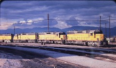 Union Pacific SD45 locomotives at the Santa Fe engine house at San Bernardino in 1975 (Tangled Bank) Tags: train railway railways railroad railroads old classic heritage vintage union pacific up sd45 locomotives santa fe engine house san bernardino 1975