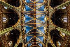 Cathedral Ceiling (Karen_Chappell) Tags: travel ottawa chrch basilica cathedral ontario fisheye canonef815mmf4lfisheyeusm wideangle architecture blue building interior ceiling windows arches arch canada notredamecathedralbasilica