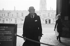 The Porter at Christ Church (Sheng P.) Tags: hogwarts harrypotter film 35mmfilm analogue leica m3 leicam3 canon ltm 50mm14 blackandwhite monochrome ilfordhp5 christchurch oxford oxfordshire portrait manportrait man filmportrait