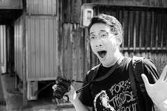 Spotted: Fukuoka wildman! (Eric Flexyourhead) Tags: higashiyama higashiyamaku 東山区 kyoto 京都市 kansai 関西地方 japan 日本 guy man dude japanese takesan friend photographer blackwhite bw monochrome sonyalphaa7 zeisssonnartfe55mmf18za zeiss 55mmf18