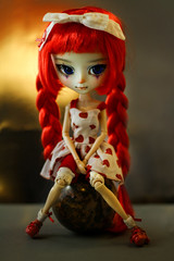 Even a bear can do it (Virvatulia) Tags: circus rollingglobe pullip pullipcustom mio makeitown red kirsche wig granite ball cute act skill ooak fc circusartist braids sad groove doll