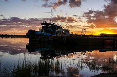 The Shift Starts... (johnjensen10) Tags: sunrise bluehour goldenhour tugboat barge marine dredging dredge marineconstruction southcarolina southeastusa coastalsouthcarolina