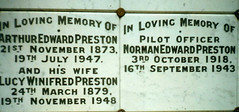 Memorial stone - Arthur Edward Preston , Lucy Winifred Wood and Norman Edward Preston