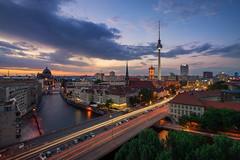 Berlin Summer Nights (martin.matte) Tags: skyline fernsehturm berlin cityscape citylights evening sunset vista alexanderplatz europe