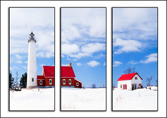 Tawas Light Station triptych (hz536n/George Thomas) Tags: 2017 copyright canon5d canon nik cs6 tawas tawasbay lakehuron greatlakes lighthouse michigan upnorth ef1740mmf4lusm sky winter snow triptych
