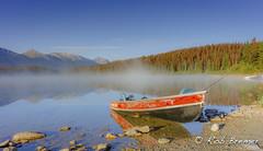 Pyramid Lake (rob.bremer) Tags: canada jasper landscape landschap lake boat fishingboat alberta rockymountains colour kleur meer reflection reflectie mist fog