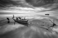 Delta Dreams B&W III. (dasanes77) Tags: canoneos6d canonef1635mmf4lisusm tripod landscape seascape cloudscape dramaticsky blackandwhite sea reflections shadows deltadreams tarragona