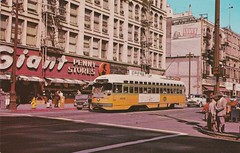 Vintage Postcard - Los Angeles Street Car and Giant Penny Store - 1962 (hmdavid) Tags: vintage postcard losangeles california streetcar trolley broadway 2nd street giantpenny store neon sign downtown 1960s 1962