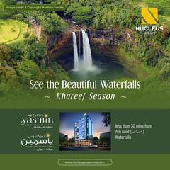 PLACES TO VISIT IN SALALAH, OMAN  1. At Salalah, see and enjoy the Beautiful Waterfalls (During Khareef Season). There are some really nice waterfalls at Ayn Khor (عين كور), Ayn Hamran (عين حمران), Ayn Tubrook (عين طبرك), Ayn Athoom (عين اثوب), Wadi Darba (nucleusproperties) Tags: beautiful life desert salalah elegant style realestate lifestyle luxury comfort apartment nature luxuryhomes architecture interior muscat gorgeous design elegance waterfalls environment beauty building exquisite view oman city construction atmosphere home