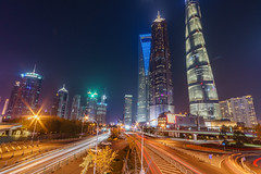 Shanghai towers (David S.M.) Tags: shanghai china night lights buildings skyscrapers lighttrails sony a7 street travel leds
