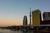Azumahashi evening view (yamabuki***) Tags: dsc27764 azumahashi 東京都墨田区 吾妻橋 夕景 月 スカイツリー ○