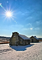 bright snowy day (Jen_Vee) Tags: sky blue sun burst rays huts snow winter nationalparks valleyforge pennsylvania clear daylight encampment woodford seasons shadows