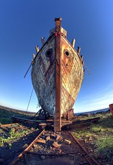 Shiver me timbers! (PeterThoeny) Tags: akranes iceland akranesshipruin ship boat ghostship abandoned abandonedship day symmetry onepointsymmetry sony sonya7 a7 a7ii a7mii alpha7mii ilce7m2 fullframe rokinon12mm rokinon12mmf28 samyang12mm samyang12mmf28 ultrawidefisheyelens fisheyelens 2xp raw photomatix hdr qualityhdr qualityhdrphotography fav200