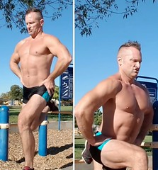 stationary lunge (ddman_70) Tags: shirtless pecs abs legs quads lunges muscle workout outdoor shortshorts