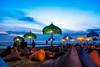 Sunset Beach (Jokoleo) Tags: bali sunrise indonesia calm tranquil outdoor kuta beach fujiflm terfujilah seminyak umbrela cafe jimbaran sunset sea people