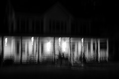 Trick Or Treat, House no.1 (SopheNic (DavidSenaPhoto)) Tags: fujinon35mmf14 impressionisticphotograph xt2 blackandwhite monochrome intentionalcameramovement mono bw halloween imc acros fujifilm impressionism house haunted low key
