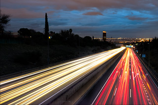 Cars lighting to Tower Seville