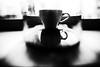 Double Shot 81.365 (ewitsoe) Tags: coffee pourover alteranativebrew brew fresh roasted kawa bookstore 81 365 canon eos6dii sigma20mm street city blur lookignthroughglass cup saucer monochrome blackandwhite bnw poznan poland ewitsoe