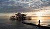 Lone figure (susie2778) Tags: brighton westsussex westpier sea sunset olympus omdem1mkii olympusm1240mmf28 clouds silhouette