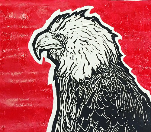 "Red Hot Bald Eagle all painted up tonight, dots get painted tomorrow. Happy Thanksgiving Eve! • <a style=""font-size:0.8em;"" href=""http://www.flickr.com/photos/57802765@N07/38593688331/"" target=""_blank"">View on Flickr</a>"
