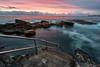 Downwards (Crouchy69) Tags: sunrise dawn landscape seascape ocean sea water coast clouds sky rocks flow motion rail railing stairs giles baths dolphin point coogee beach sydney australia