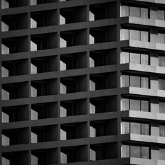 all about scale (morbs06) Tags: bangkok thailand abstract architecture balcony building bw city facade light lines pattern repetition riverside shadow square stripes texture urban windows